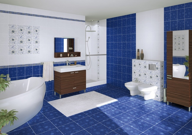 Ванная комната в синих тонах
