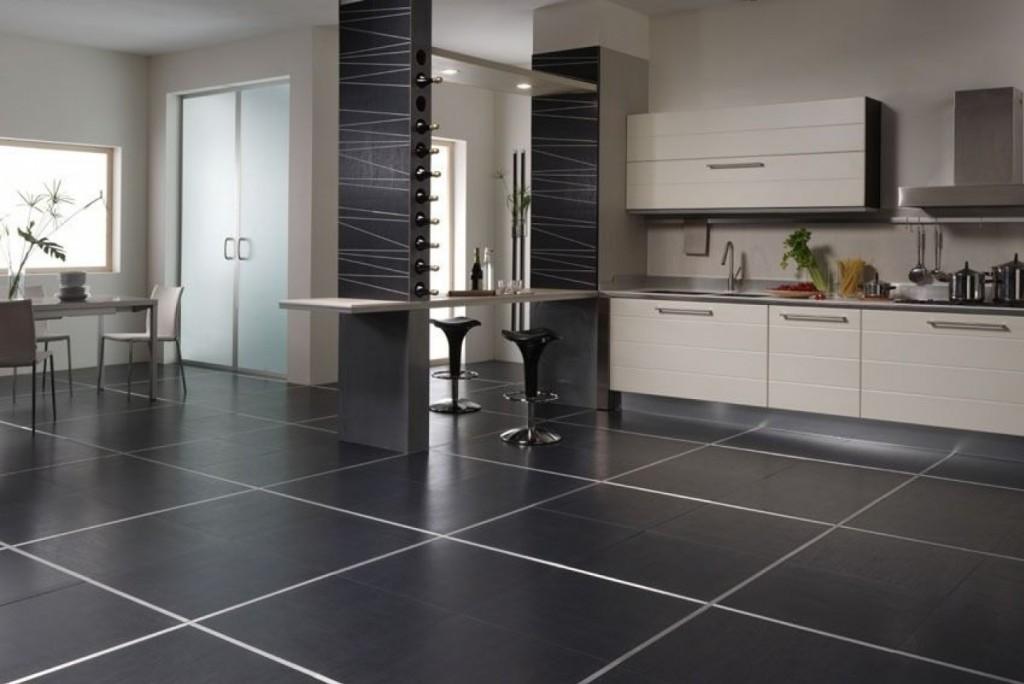 керамическая плитка на пол на кухне