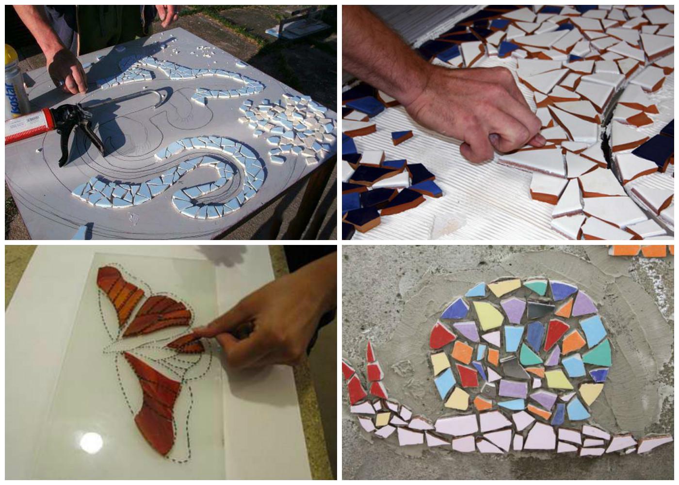 Как сделать мозаичный пол из битой плитки мастер класс